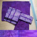 紫の正絹・小紋